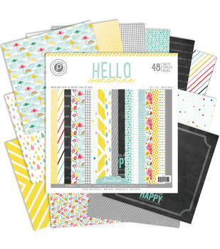 Pink Paislee Hello Sunshine Single-Sided Paper Pad 12''x12''