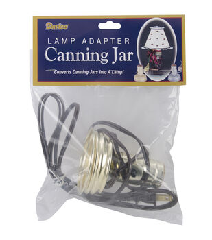 Canning Jar Lamp Adapter 1/Pkg-Zinc, Small Mouth, Brown Cord