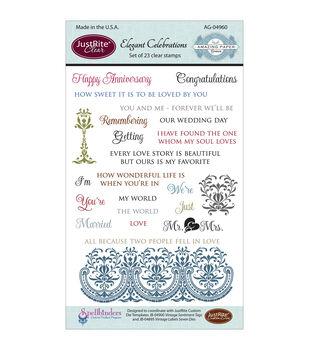 JustRite Papercraft Clear Stamp Set Elegant Celebrations