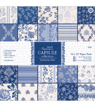 Papermania Capsule Parisienne Blue Paper Pack 12''x12''