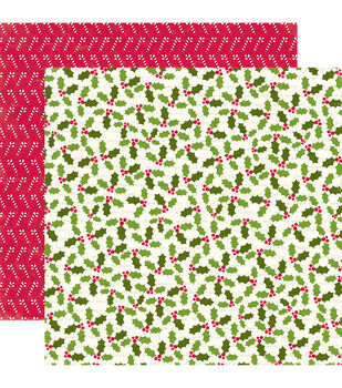 "Home For The Holidays Double-Sided Cardstock 12""X12""-Holly Berries"