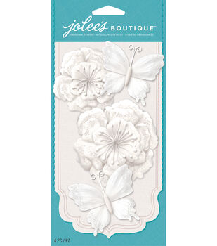 Jolee's Boutique - White Glitter Butterfly Paper Flowers