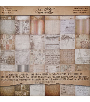 """Idea-Ology Paper Stash Paper Pad 12""""X12"""" 36/Pkg-French Industrial"""