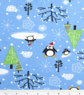 Holiday Inspirations Fabric-Santa Penguins Flannel