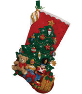 Under The Tree Stocking Felt Applique Kit-18inches Long