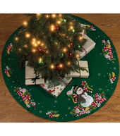 Candy Snowman Tree Skirt Felt Applique Kit-43inches Round