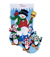 Penguin Party Stocking Felt Applique Kit-16inches Long