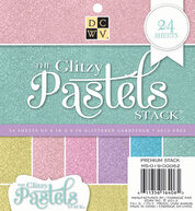 DCWV 6inchesx6inches Glitzy Pastels Stack