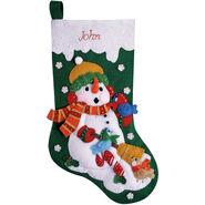 Design Works Felt Applique Kit Snowman With Birds Stocking