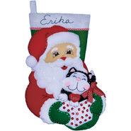 Design Works Felt Applique Kit Santa and amp; Kitten Stocking