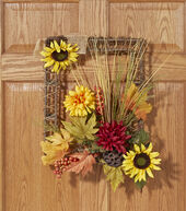 Yellow and Red Sunflower, Mum and Berry Wall Decor