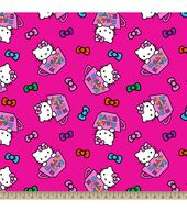 Sanrio Hello Kitty Tea Cups Fleece Fabric