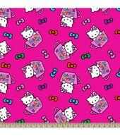Sanrio Hello Kitty Tea Cups Fleece Fabric