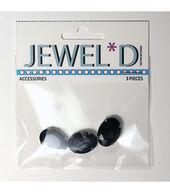 13x18mm Oval Sew On Crystal  Black