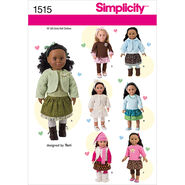 Simplicity Pattern 1515OS One Size -Crafts Doll Clothes