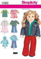 Simplicity Pattern 1580OS One Size -Crafts Doll Clothes
