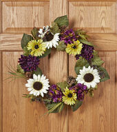 Fall For All Sunflower, Daisy, Mum, Hydrangea, Berry  and  Pinecone Wreath�