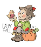 Art Impressions Halloween Happy Fall Cling Rubber Stamp