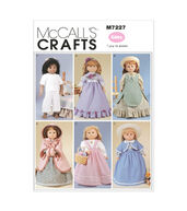 McCalls Pattern M7227-OSZ Clothes For 18 Doll-One Size Only