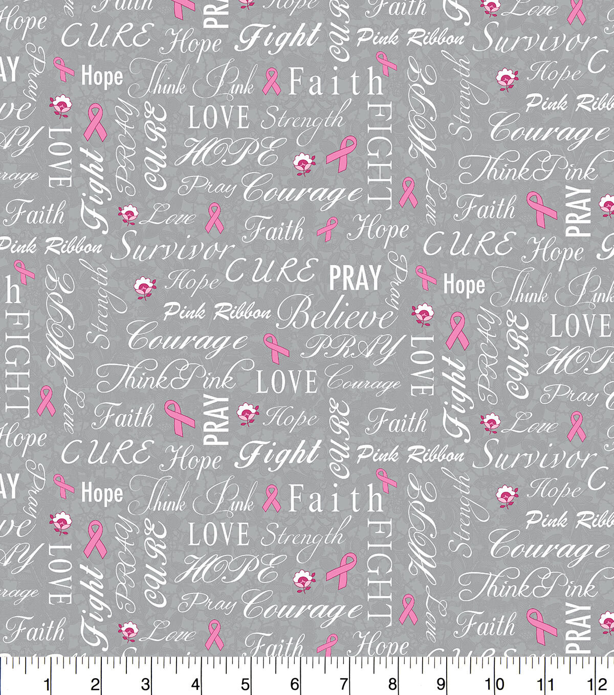 Love and Strength Breast Cancer Awareness Snuggle Fabric