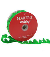 Makers Holiday Christmas Felt Cutout Xmas Tree Ribbon 1.5x25-Green