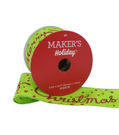Makers Holiday Christmas Ribbon 2.5x25-Red Merry Christmas on Green