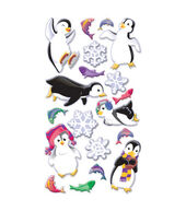 Puffy Dimensional Stickers-Winter Fun Penguins