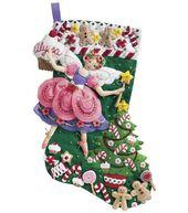 Bucilla Sugar Plum Fairy Stocking Felt Applique Kit-18inches Long