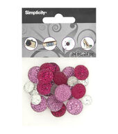 DIY Accessories Round Pave Gemstones, 24 pcs - Silver