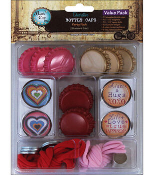 Vintage Collection Bottle Caps Value Pack-Funky Hearts