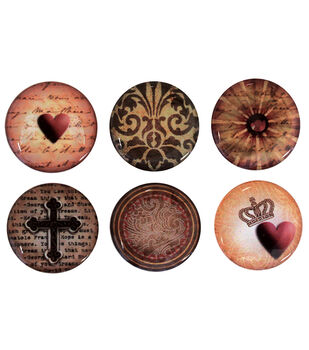 """Vintage Collection Epoxy Stickers 1"""" 6/Pk-Abstract Paper 3"""