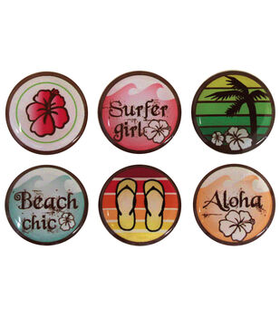 """Vintage Collection Epoxy Stickers 1"""" 6/Pk-Surfer Girl"""