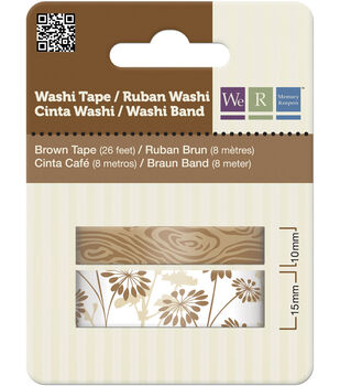 Washi Tape 15mm & 10mm Styles 50 Feet Total/Pkg-Brown