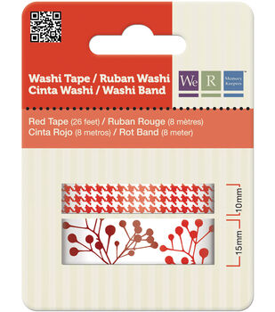 Washi Tape 15mm & 10mm Styles 50 Feet Total/Pkg-Red