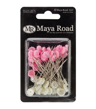 "Flower Pins 2.25"" 50/Pkg-Hot Pink & Cream Pearl"