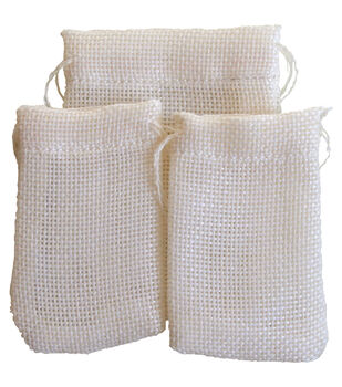 Maya Road Vintage Linen Burlap Treasure Bags Cream