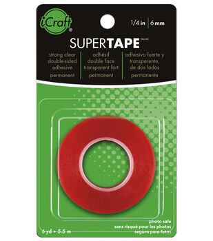 "Super Tape 1/4"" roll. Strong Double-Sided clear Tape with Red Liner, Heat and Water resistant"