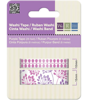 Washi Tape 15mm & 10mm Styles 50 Feet Total/Pkg-Purple