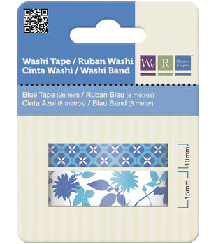 Washi Tape 15mm & 10mm Styles 50 Feet Total/Pkg-Blue