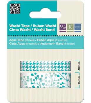Washi Tape 15mm & 10mm Styles 50 Feet Total/Pkg-Aqua