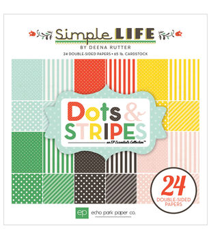 "Echo Park Paper Pad 6""X6"" 24/Pkg-Simple Life Dots & Stripes"