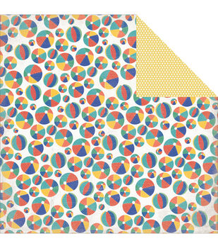 "Walking On Sunshine Double-Sided Cardstock 12""X12""-Beach Balls"