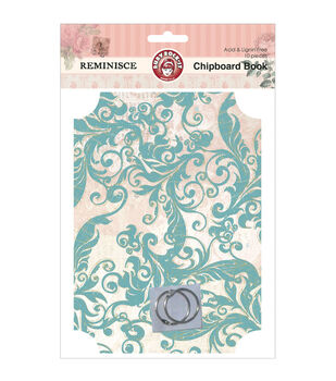 Reminisce Chipboard Book-10 Pieces: 2 Covers/2 Rings/6 Pages