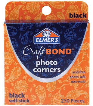 Elmer's Photo Corners -Black Self-Stick 250/Pkg