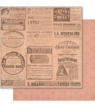 Ruby Rock-It Old News - Heritage Double-sided Paper 12""