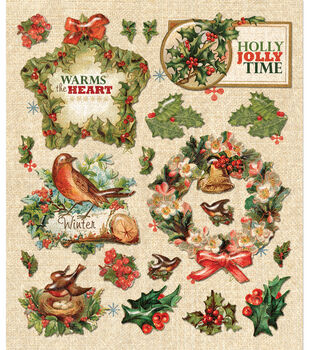 Sticker Medley-Holly Berries & Wreath
