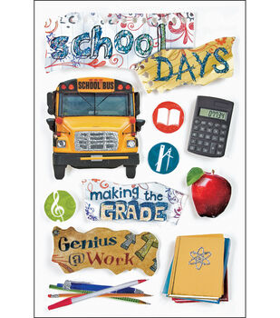 Paper House 3-D Stickers-School Days