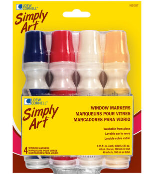 Simply Art Window Markers-Red/White/Blue/Yellow