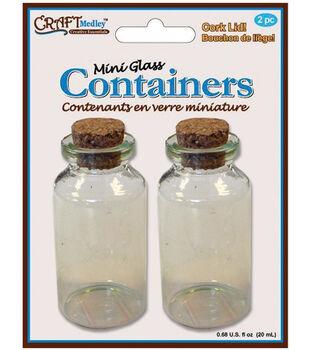 Glass Bottles W/Cork Lid .25ml 2/Pkg-