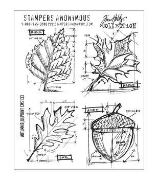 Tim Holtz Cling Rubber Stamp Set-Autumn Blueprint